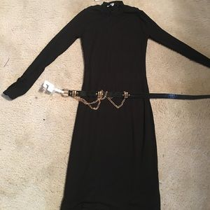 Nordstrom's  black fitted stretchy dress and belt